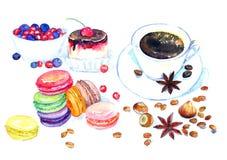 Kop van koffie, zoet dessert, kleurrijke Franse macaroncakes, bessen, noten, koffiebonen en steranijsplant Royalty-vrije Stock Foto