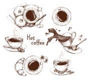 Kop van koffiereeks Stock Afbeelding