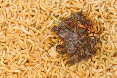 kop van specerij de Onmiddellijke noedels, macro stock afbeelding