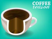 Kop van vlakke ontwerp van de koffie het vectorkleur vector illustratie