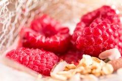 Kop van yoghurt met granola en framboos Royalty-vrije Stock Foto