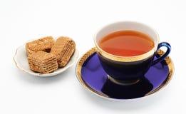 Kop van zwart thee en koekje Royalty-vrije Stock Fotografie