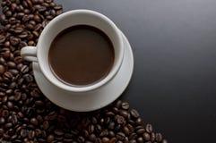 Kop van zwarte hete coffe Stock Afbeeldingen