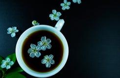 Kop van zwarte thee met kersen hierboven bloemen op zwarte achtergrond van Stock Afbeelding