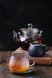 Kop van zwarte thee met melk Royalty-vrije Stock Afbeelding