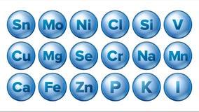 Kopalne ikony Ustawiający wektor Kopalna Błękitna pigułki ikona MEDYCYNY kapsuła substancja 3D witaminy kompleks Z Chemiczną form royalty ilustracja