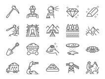 Kopalniany ikona set Zawrzeć ikony jako kopalnictwo, pracownik, praca, węgiel, metro, głębienie, ślad, poręcz i więcej, royalty ilustracja