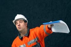 Kopalniany pracownik z kartoteką zdjęcie stock