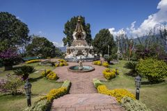 Kopan monastery garden kathmandu valley Stock Photo