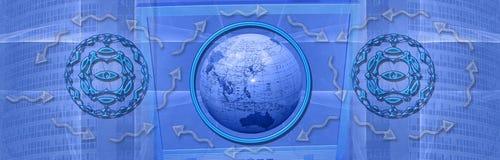 Kopbal: Aanslutingen wereldwijd en Internet Stock Afbeelding