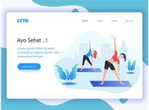 Kopbal landende pagina voor yogasport vector illustratie