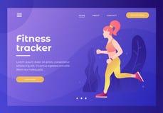 Kopbal voor website met beeld van atletisch meisje op looppas met drijver Cardiooefeningen vector illustratie