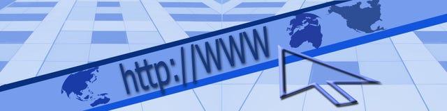 Kopbal: Zaken en het onderzoeken van Internet. Royalty-vrije Stock Foto
