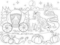 Kopciuszek bajki kolorystyki książka dla dziecko kreskówki wektoru ilustraci Fotografia Royalty Free