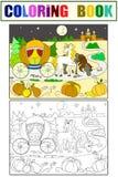 Kopciuszek bajki kolorystyki książka dla dziecko kreskówki wektoru Kolor, czarny i biały Zdjęcie Royalty Free
