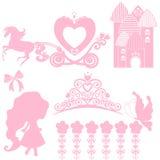 Kopciuszek ustawiający kolekcje Korona, Wektorowa ilustracja projektuje elementy dla małego Princess, splendor dziewczyna karty d ilustracji