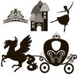 Kopciuszek ustawiający kolekcje Korona, Wektorowa ilustracja projektuje elementy dla małego Princess, splendor dziewczyna karty d royalty ilustracja