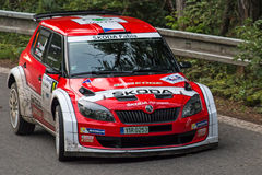 Kopec. MLADA BOLESLAV, CZECH REP. - JULY 11 : Winners of Rally Bohemia Driver Kopecky J. and co driver Dresler P. in Skoda Fabia S2000 at speed stage no. 3 July Royalty Free Stock Image