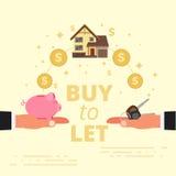 Kopen-aan-gelaten conceptontwerp Hypotheeklening of uit het laten van echte est royalty-vrije illustratie