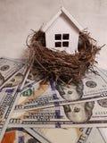 Kopen, die een huis, een wit huis in een nest op backgrou verkopen Stock Afbeeldingen