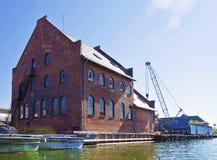 Kopenhaga, Dani: schronienia instalacje, doki i łodzie, Fotografia Stock