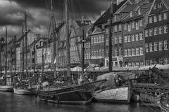 KOPENHAGA DANI, SIERPIEŃ, - 14, 2016: Czarny i biały fotografia, bo Fotografia Royalty Free