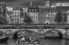 KOPENHAGA DANI, SIERPIEŃ, - 14, 2016: Czarny i biały fotografia, vi Obraz Royalty Free