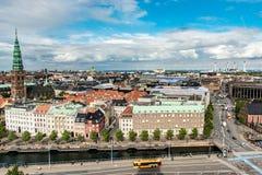 KOPENHAGA DANI, SIERPIEŃ, - 25, 2015: Nikolaj, Kopenhaga dzisiejszej ustawy centrum, Dani cityscape Zdjęcie Royalty Free