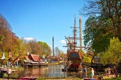 Kopenhaga Dani, Tivoli ogródy, -: panoramiczny widok Zdjęcia Royalty Free