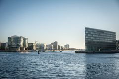 Kopenhaga Habor, nowi budynki, nowy teren Dani zdjęcia stock