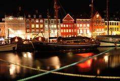 Kopenhaga noc Zdjęcia Royalty Free