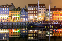 Kopenhaga Nyhavn Dani Fotografia Stock