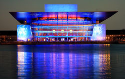 Kopenhaga opera przy nocą (Błękitną) zdjęcie stock