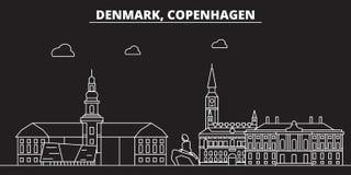 Kopenhaga sylwetki linia horyzontu Dani, Kopenhaga wektorowy miasto -, duńska liniowa architektura, budynki copenhagen royalty ilustracja