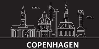 Kopenhaga sylwetki linia horyzontu Dani, Kopenhaga wektorowy miasto -, duńska liniowa architektura, budynki copenhagen ilustracji