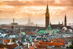 Kopenhagen, Cityscape van Denemarken stock afbeelding