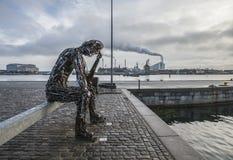 Kopenhagen, Dänemark - eine denkende Mannstatue Lizenzfreies Stockbild