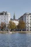 KOPENHAGEN, DÄNEMARK - 8. SEPTEMBER: Sortedams Soe in Kopenhagen Lizenzfreie Stockbilder