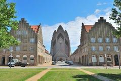 Kopenhagen, Denemarken. De Kerk van Grundtvig Stock Foto's