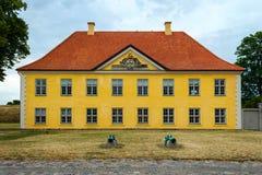 Kopenhagen, Denemarken - Juli 10, 2018 Vesting Castellet, Mooie architectuur De gele bouw met mooie vensters Royalty-vrije Stock Fotografie