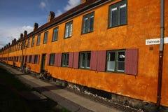 Kopenhagen in Denemarken met beroemde gebouwen en plaatsen stock afbeelding