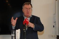 Kopenhagen/Denemarken 15 November 2018 Van drie ministersanders samuelsen van Denemarken de Deense minister voor buitenlandse zak stock afbeelding