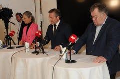 Kopenhagen/Denemarken 15 November 2018 Van drie ministersanders samuelsen van Denemarken de Deense minister voor buitenlandse zak stock foto's