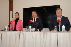 Kopenhagen/Denemarken 15 November 2018 Van drie ministersanders samuelsen van Denemarken de Deense minister voor buitenlandse zak royalty-vrije stock foto's