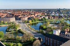 Kopenhagen-Flächenansicht mit Knippel-Brücke und innerem Hafen Lizenzfreie Stockbilder