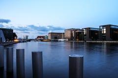 Kopenhagen-Kanal bei Sonnenuntergang stockbild
