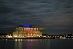 Kopenhagen-Opernhaus bis zum Nacht Lizenzfreies Stockbild