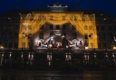 Kopenhagen-Quadrat mit Weihnachtsdekorationen an Stockfotografie