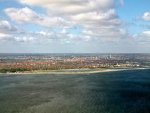 Kopenhagen and sea aerial view. Denmark. Europe Royalty Free Stock Images