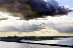 Kopenhagen-Sonnenuntergang - neuer Hafen für Kreuzschiffe Lizenzfreies Stockfoto